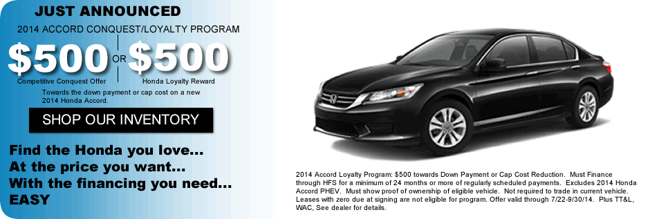 Honda Accord Loyalty and Conquest Offer